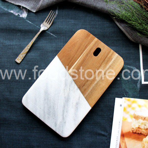 White Marble and Wood Cheese Board (1)